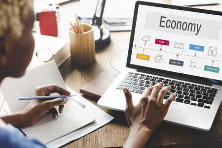 Economy Trade Financial Accounting Icons Stock Photo