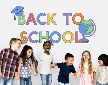 Group of students with back to school illustration
