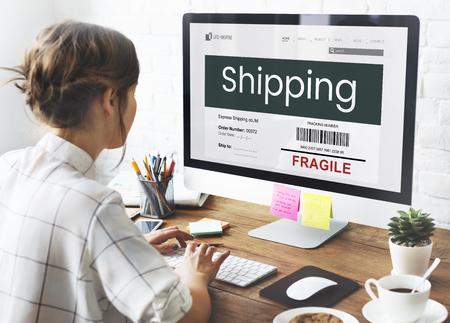 Shipping freight cargo care fragile Stock Photo