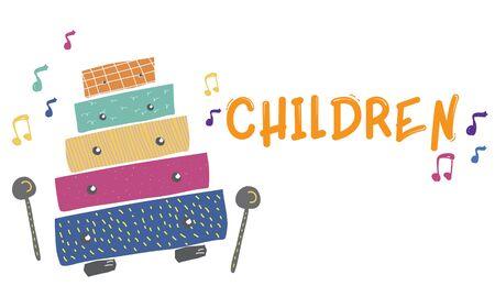 Enfants début éducation loisirs activités musique pour enfants illustration Banque d'images - 81735803