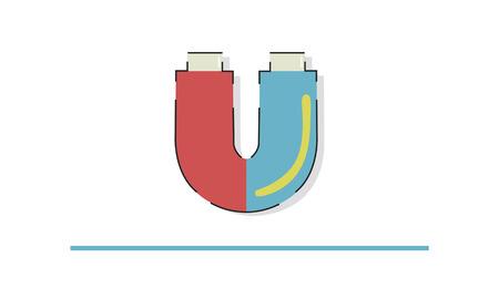 Illustration der Hufeisen magnetischen Feld Energie Standard-Bild - 81736041