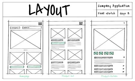 웹 사이트 템플릿 스케치 레이아웃 아이디어