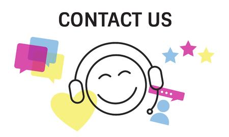 Ilustración de contacto con nosotros servicios de atención al cliente en línea Foto de archivo - 81788273