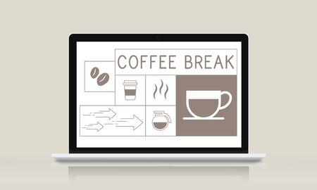 Coffee shop illustration advertisement on laptop