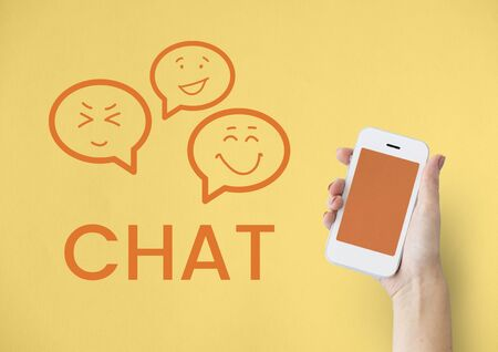 mobilephone: Graphic of chat social media communication Stock Photo