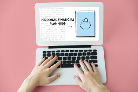Illustration of economy financial planning piggy bank on laptop