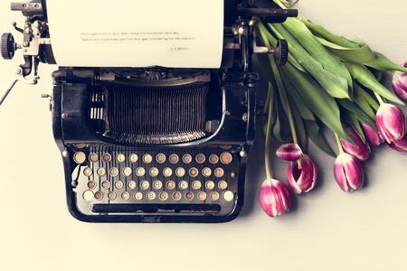 Retro Typewriter Machine Old Style by Tulips Flower