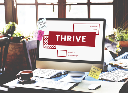 thrive: Computer Screen on the Messy Workspace Stock Photo