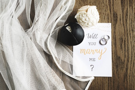 Will You Marry Me Proposing Card Marriage Banco de Imagens