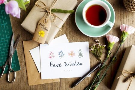 dried flower arrangement: Best Wish Card with Gift Box Background