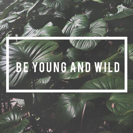 葉の背景に若くて野生の言葉である