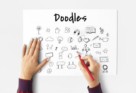 Doodles Art Creative Design Icon Vector Graphic Illustration Stock fotó
