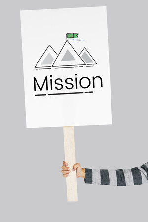 Illustration of goals target with mountain on banner Stock fotó