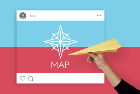 papercraft: Showing Direction Guide Navigation Route Map Word Graphic Stock Photo