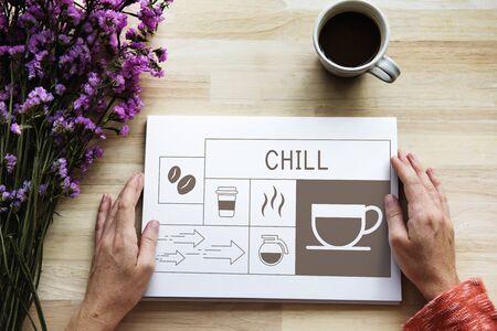 Coffee shop illustration advertisement on flyer Stok Fotoğraf
