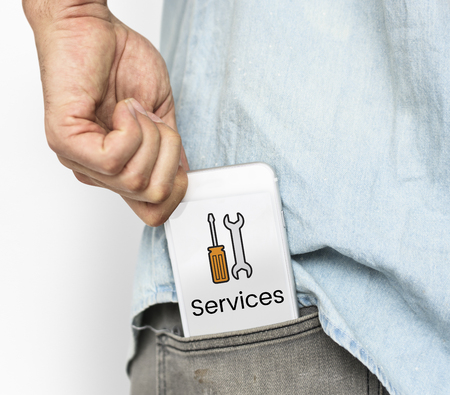 Device Settings Maintenance Service Word Graphic