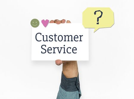 Hand with the word customer service Stock Photo