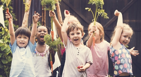 Group of Diverse Kids Learning Environment at Vegetable Farm