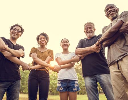 Groep mensen met handsupport team eenheid Stockfoto