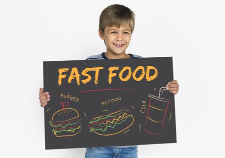 Burger hotdog cola fast food menu Banco de Imagens - 81842428