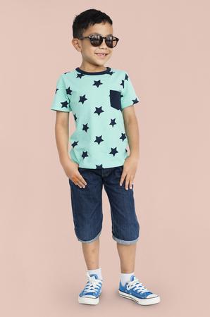 Little Boy Wear Sunglasses Smile Pose Studio