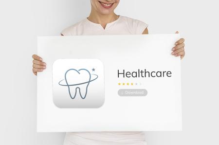 Illustrazione di cure odontoiatriche applicazione Archivio Fotografico - 81842184