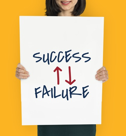 成功失敗という言葉を上矢 写真素材