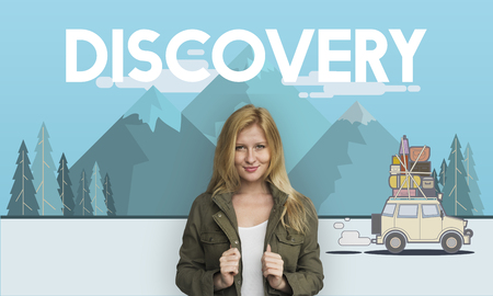 Woman with illustration of discovery journey road trip traveling Stock Photo