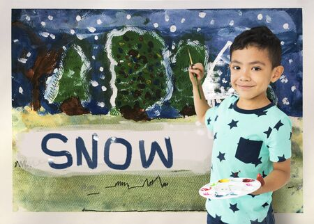Children painting home winter drawing Banco de Imagens