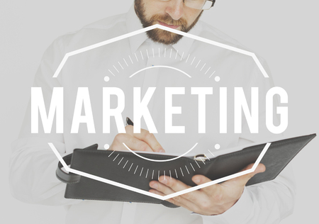 availability: Businessman working and writing with marketing stamp