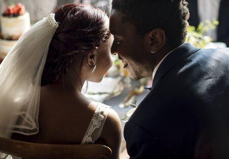 신혼 아프리카 신랑 신부 신랑 결혼식 축하