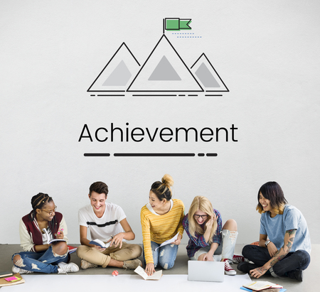 Group of people setting goals target with mountain graphic Stock Photo