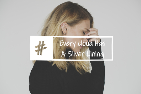 Every Cloud Has a Silver Lining Hashtag Word on Stressed Woman Background Banco de Imagens
