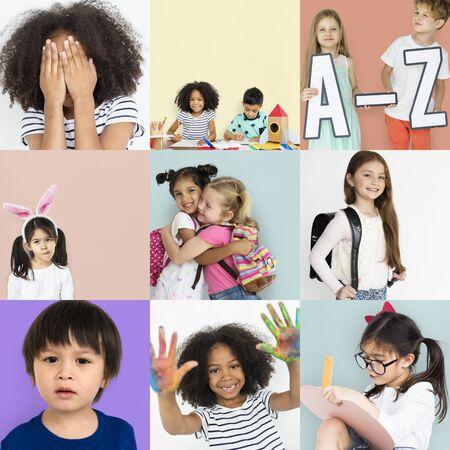 People Set of Diversity Kids Playful Studio Portrait