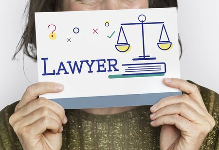 legitimate: People holding card with justice and legal scale icon Stock Photo