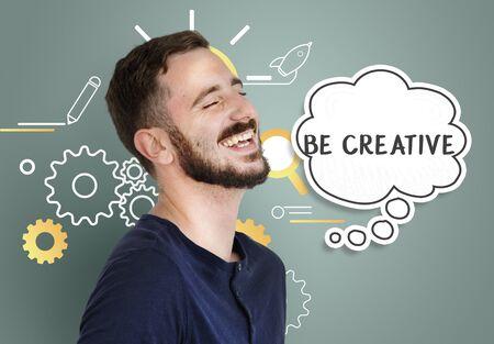 Imagining creatieve inspiratie gedachte bubble Stockfoto