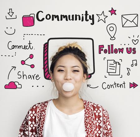 Communicatie Blijf verbonden gemeenschapsconcept