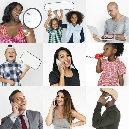 niños platicando: Studio People Collage Concepto de comunicación