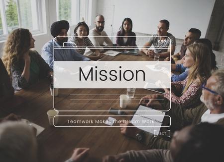 Teamwork Performance Group Mission Message Window Graphic Reklamní fotografie