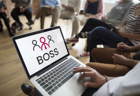 Illustration of boss manage and lead the team Stock Photo