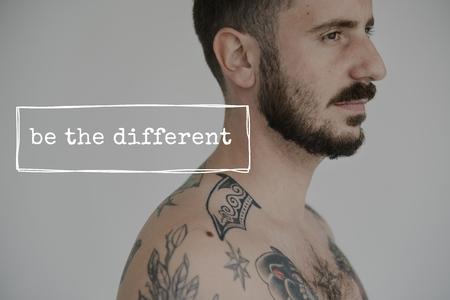 Life Motivation Word on Adult Tattoo Shirtless Man Background