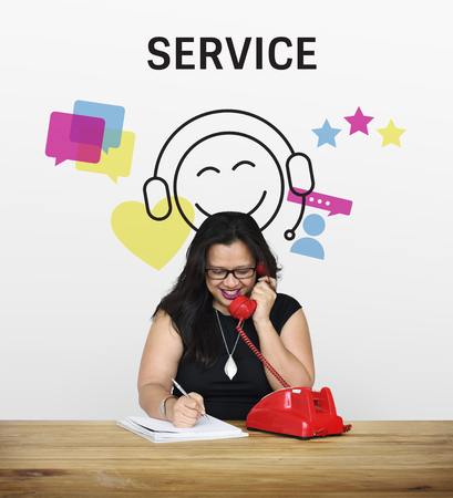 asked: Woman with illustration of contact us online customer services