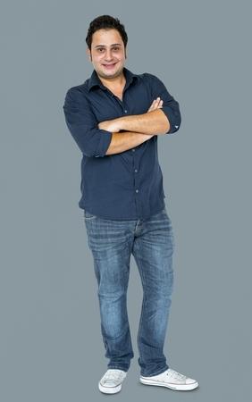 Adult Man Gesture Stand Studio Portrait Banque d'images