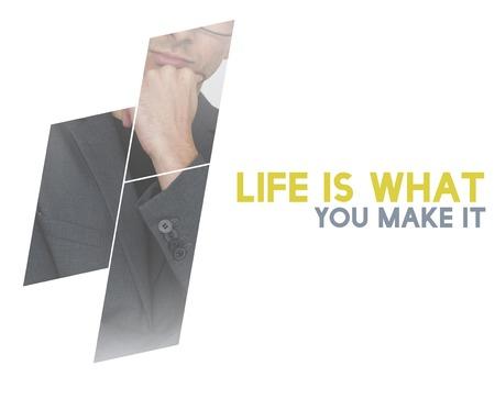 Life Motivation Word on Adult Businessman Background Фото со стока