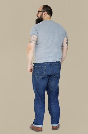 Adult Beard Man with Tattoo Gesture Stand Studio Portrait Stock fotó