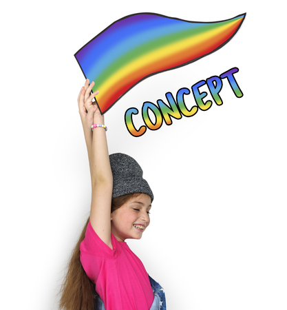fresh idea: Young girl holding banner network graphic