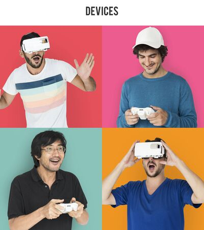 Set of Diverse Men Enjoying Game Studio Collage