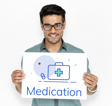Medication First Aid Box Medical Word Graphic