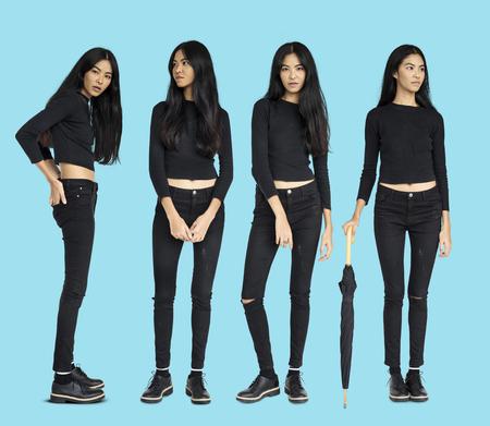 Asian Women Set Gesture Standing Studio Portrait Isolated Stock Photo