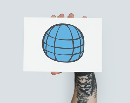Hand holding banner network graphic overlay Stock Photo